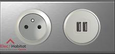 Prise 2P+T + double USB Céliane inox brossé 67111+67462+68412+68556+80252+69102