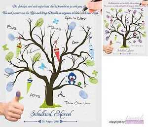 Huella Digital Lienzo Clase Escuela Árbol de Dactilares Incl. Tampón Tinta