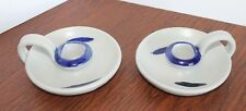 Williamsburg VA Pottery Candle Holders Hand Painted & Hand Crafted USA Set of 2