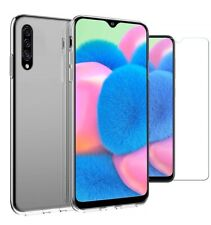 For Samsung Galaxy A30s Case Clear Slim Gel Cover & Glass Screen Protector