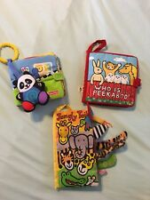 SOFT COVER CLOTH FABRIC ACTIVITY BABY & TODDLER BOOKS LOT OF 3