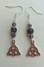 Celtic knot charm Amethyst gemstone drop earrings. on silverplated fish hooks.