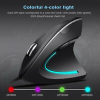 PC Laptop Ergonomic Optical USB Wired Vertical Mouse Mice 800 1200 2000 3200 DPI