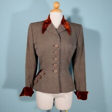 Vintage 1940s Wool Tweed Velvet Trim Fit + Flare Blazer, 40s Fitted Jacket XS