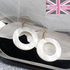 RETRO BIG 4cm CIRCLE lucite FAUX MOP SHELL EARRINGS hoops WHITE SHINY gold tone