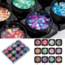 12pcs Nail Art Glitter Powder Dust UV Gel Acrylic Powder Sequins Party Nails Tip