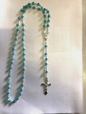 Turquoise Plastic Rosary Round Beads Necklace for Children / Adults