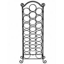 Stainless Steel Black Finish Wine Rack Holder Floor Standing Holds 21 Bottles
