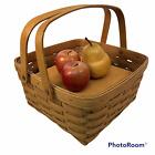 Longaberger 2 Pie Basket Plastic Liner Wood Riser 10x10x6 Handwoven Pie Carrier