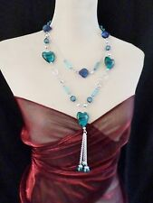 Statement Necklace Long 48cm Blue multi Resin Beads - Large Heart Beads 119BL