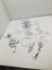Lot of 10 Clear Acrylic & Silver Acrylic Christmas Ornaments Dove Owl Star Horn