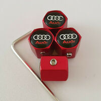 AUDI Matte Red Locking Anti Theft Wheel Valve Dust caps all models color S LINE