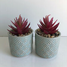 * NEW SET 2 SMALL BLUE TEXTURED ROUND ARTIFICIAL SUCCULENT cacti plants pots.