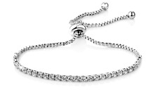 White Gold Solitaire Friendship Bracelet with Crystals from Swarovski® in Pouch