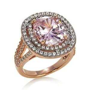 HSN Victoria Wieck Silver Cushion Cut Pink Sapphire Rose Vermail Ring Size 7