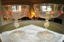 SALVIATI VENETIAN GLASS.. 8 OZ. CHAMPAGNE GLASSES..CRANBERRY, CELEBRATE GOLD.TWO
