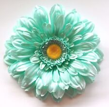 "5"" Pastel Mint Light Green Gerbera Daisy Silk Flower Hair Clip Wedding Prom"