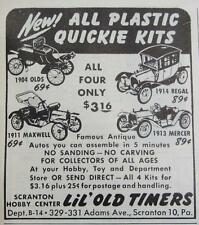 Print. 1950s Model Car Kits - NEW! ALL PLASTIC QUICKIE KITS - Advertisement