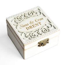 Personalized Wedding Ring Holder Vintage White Ring Box Wedding Ring Bearer Box