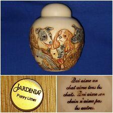 Jardinia Puppy Litter Crushed Marble Jar Urn w/Lid Puppies Dogs Harmony Kingdom