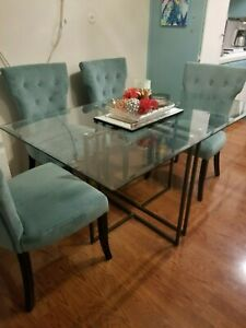 Dining Room Set Glass Table with 4 Teal Velvet Chairs Excellent Condition!