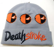 NEW DC COMICS Deathstroke GRAY BLACK and ORANGE knit BEANIE HAT CAP size - o/s