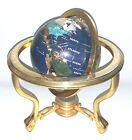 Semi Precious Stones Antique World Globe Metal Stand Compass