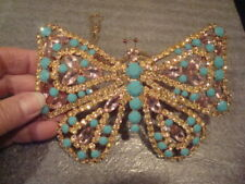 HUGE Vtg Turquoise Lucite White/Lavender Rhinestone Butterfly Necklace Juliana