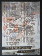NHL 250 Checklist Fleer Ultra 1993/94
