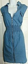 womens ladies blue zip up shirt  dress size large 14/16