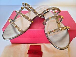 Valentino Garavani Rockstud  Metallic City Flat Slide Caged Sandal Bronze 39