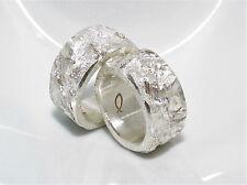 10 mm breite Partnerringe, Eheringe, grobe Struktur,  Silber 999, Flamere Design