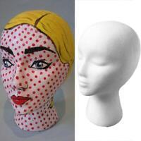 Female Head Model Wig Hair Hat Glass Display Styrofoam Mannequin Foam White P6S3
