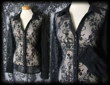Gothic Black Sheer Delicate Lace BROKEN DREAM Blouse 16 18 Victorian Vintage