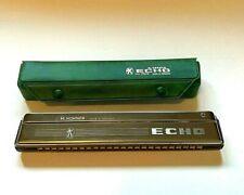 "Hohner Echo Harmonica w/ Case #2509 Germany Key of C 7.75"" Long 2 Rows of Holes"