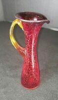 "Vintage Amberina Orange Red Amber Crackle Glass Pitcher Glass w/ Handle 8"""