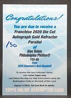 ALEC BOHM ⭐ 2020 Bowman's Best Franchise Die Cut Auto Gold Autograph /50 ROOKIE