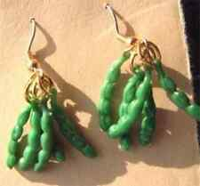 Funky GREEN BEANS EARRINGS-Pea Pods Vegetable Garden Food Charm Costume Jewelry