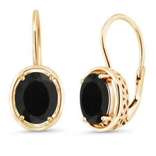 4.00 Ct Oval Black Onyx 18K Yellow Gold Plated Silver Dangle Earrings