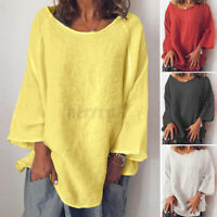 2021 UK Womens Summer Long Sleeve V Neck Tops Casual Loose Shirt Blouse Pullover