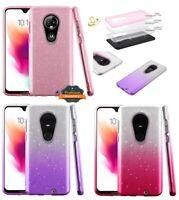 Motorola Moto G7 / G7 PLUS Hybrid Bling Glitter Rubber Protective TPU Case Cover