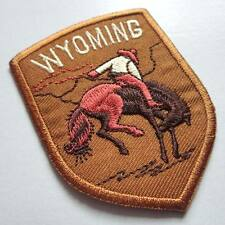 WYOMING RIDER HORSE RODEO Brown Embroidered Iron on Patch Free Shipping