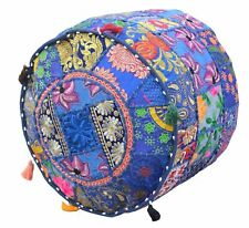 """18X14"""" Round Blue Patchwork Pouf Ottoman Cover Footstool Embroider Covers Throw"""