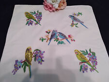 VINTAGE HAND EMBROIDERED CUSHION COVER BUDGERIGARS BUDGIES & BLOSSOM ~ BEAUTIFUL