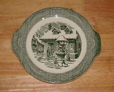 "OLD CURIOSITY SHOP Green Transferware 10 1/4""  Serving Platter Plate w/ Handles"