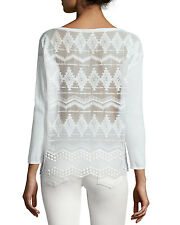 Joie NWTJENKA Lace Back Embroidered Silk Cotton Sweater Top Size L White $300