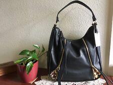 JOES JEANS Phoebe Hobo Handbag Black Faux Leather Leopard Print Shoulder Bag