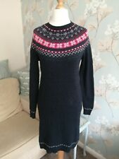 GORGEOUS *FAT FACE* NAVY BLUE RED FAIRISLE COTTON WOOL KNITTED JUMPER DRESS 10