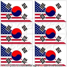 USA United States America-SOUTH KOREA American-S.Korean Flag 40mm Stickers x6
