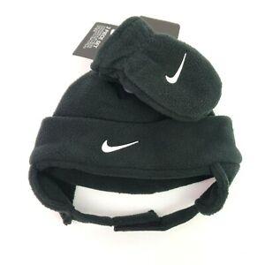 Nike Baby Boy Infant Black Fleece Trapper Hat & Mittens Winter Cold Set